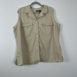 Hunt Club Woman Tan Button Up Sleeveless Top Size